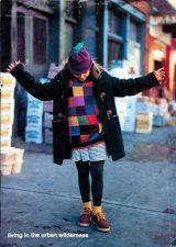 Photo from Earnshaw Magazine November 1995 of girls on sidewalk wearing the beauty berry hat by Margareta Horn Design