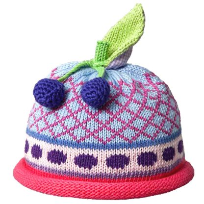 Cherries knit hat blue diamond pattern with hot pink roll band