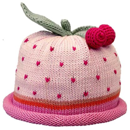 Cherries knit hat hot pink dots on pink cap with hot pink roll band