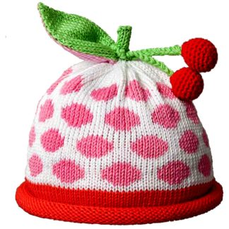 Cherries knit hat large pink dots on white cap with cherry red roll band