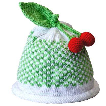 Cherries knit cap green gingham pattern on white