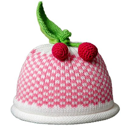 Cherries knit hat pink gingham pattern on white