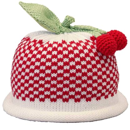 Cherries knit hat red gingham pattern on white