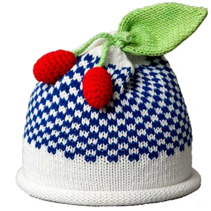 Cherries knit hat royal blue gingham pattern on white
