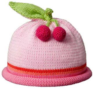Cherries knit hat pink cap with dark pink roll band and orange and hot pink accent stripes