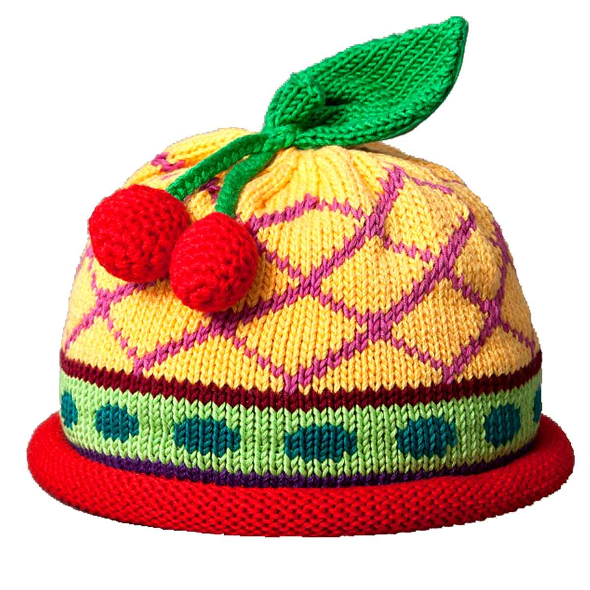 Cherry Knit Hat - Yellow Diamond Design - Margareta Horn Design 6d429fcbcab