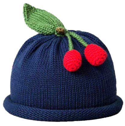Cherries knit hat navy blue