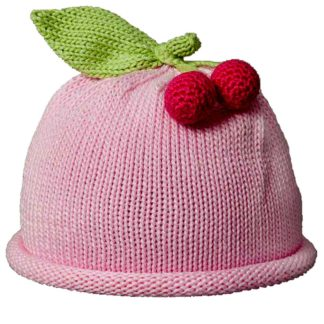Cherries knit hat pink