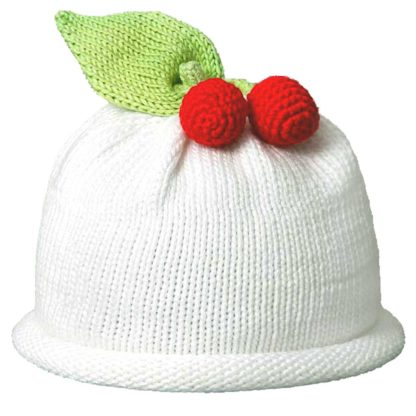 Cherries knit hat white