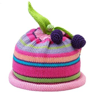 Cherries knit hat multi color stripes
