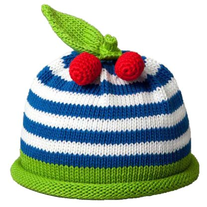 Cherries knit hat royal blue stripes on white cap with green roll band