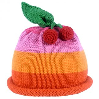Knit Hat in oranges and pinks with a knit cherry and leaf decor on top with red roll brim