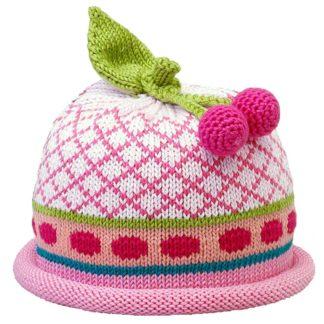 Cherries knit hat white diamond pattern on pink cap