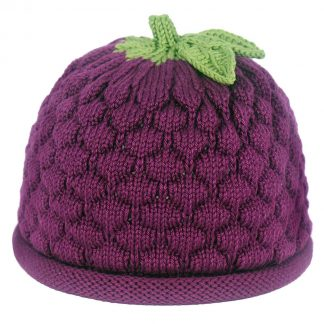 hand loomed knit hand in fuchsia purple with green leaves on top