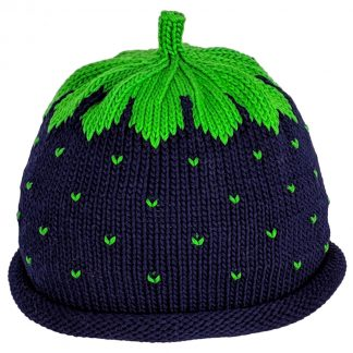 Knit Hat in deep blue with green seed dots and green crown