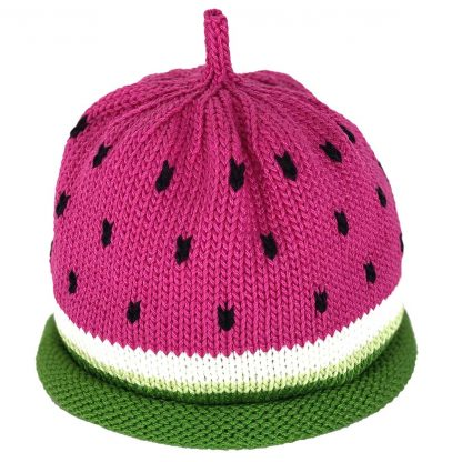 Knit Hat in deep pink with black seed dots and green rolled brim