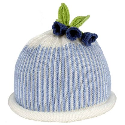 Blue oxford stripe knit hat with white roll brim decorated bluebell flowers and green knit leaves