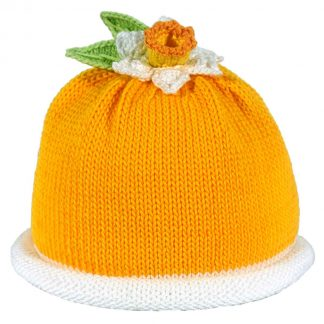deep Yellow knit hat with a yellow daffodil on top with two knit leaves and a white roll brim