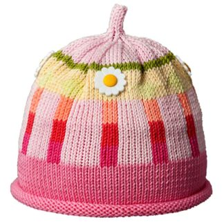 Multi-tone pink knit hat with rolled brim has vertical oxford stripes and decorated with daisy shaped buttons