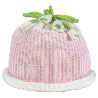 Pink oxford stripe knit hat with white roll brim decorated white lilies and green knit leaves