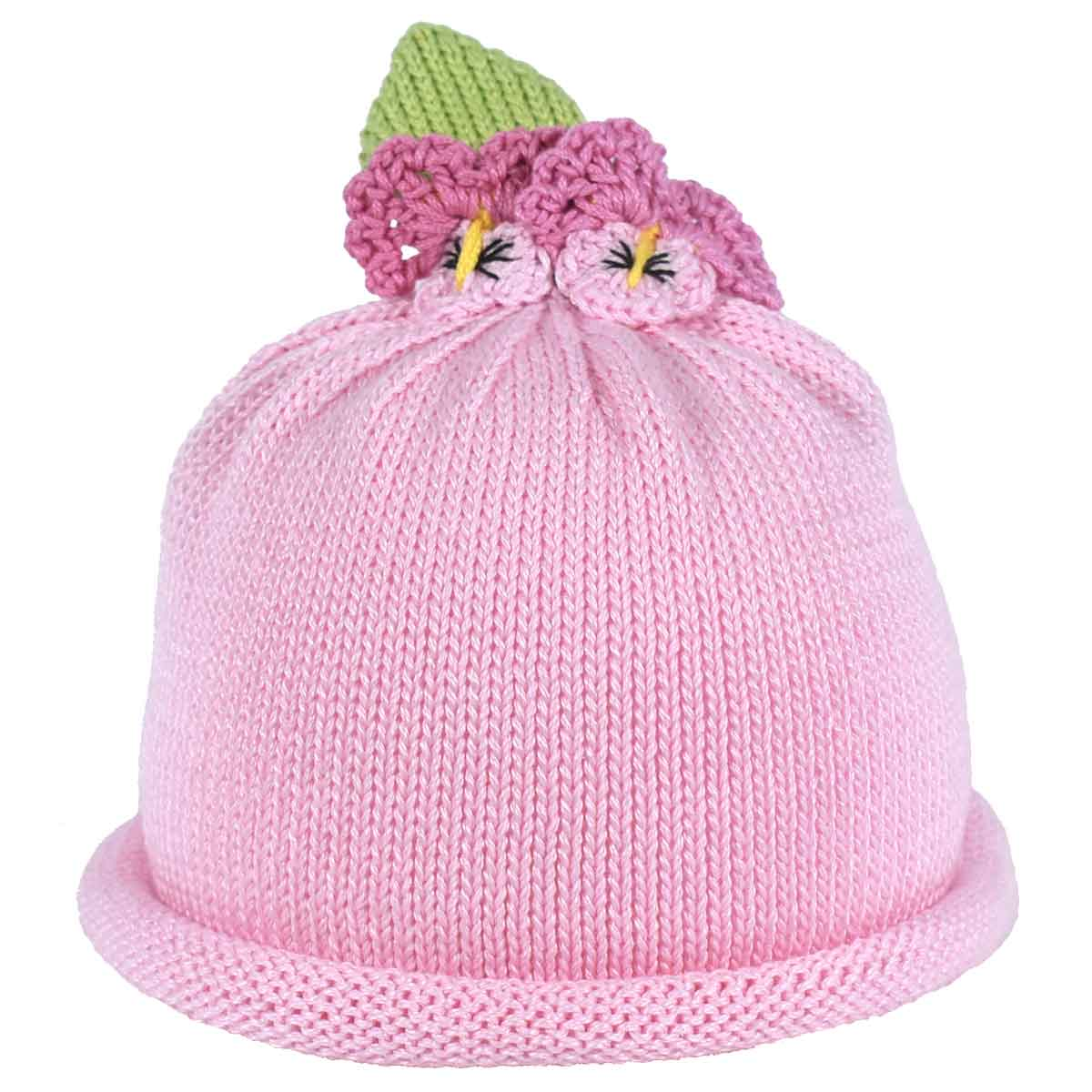 Pretty pink pansy flower on pink knit hat margareta horn design pretty pink pansy flower mightylinksfo Choice Image