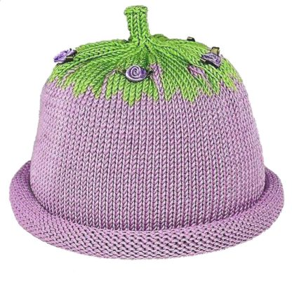 Lavender Knit Hat with rolled brim, green crown decorated with lavender miniature silk roses