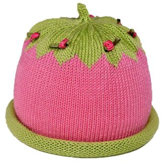 Dark Pink Knit Hat with green roll brim and crown. The crown is decorated with hot pink miniature silk roses