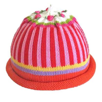 Knit Hat with vertical Oxford stripes in pink and red with red roll brim and white crown decorated with miniature roses