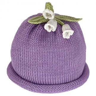 Lavender knit hat decorated white lilies and green knit leaves