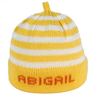 Yellow striped knit hat with yellow band that can be personalized