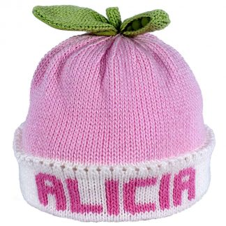 Pink Sweet Pea knit hat with white band that can be customized