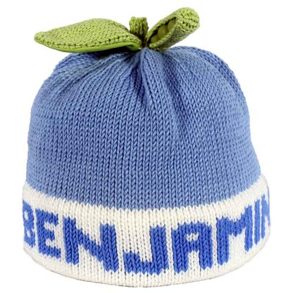 Blue sweet pea knit hat with white band that can be customized