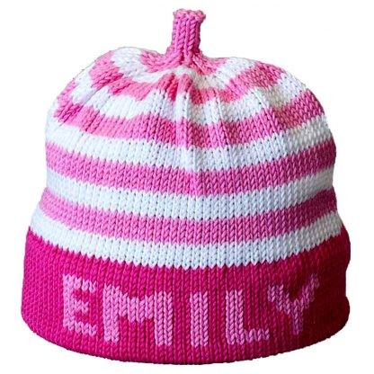Personalized Knit Hat – Pink Stripe Pink Band - Margareta Horn Design c607d1a006f