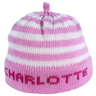 Pink striped knit hat with pink band that can be personalized