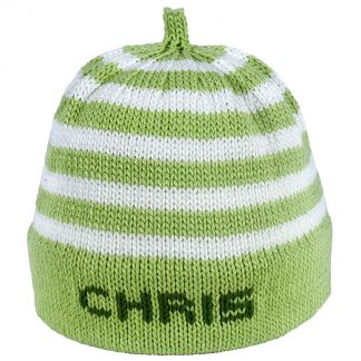 Green striped knit hat with green band that can be personalized
