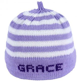 Lavender striped knit hat with lavender band that can be personalized