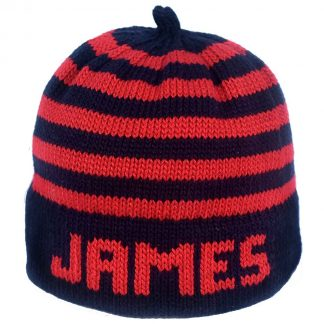 Red and navy striped knit hat with navy band that be customized