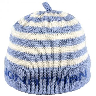 Blue striped knit hat with blue band that can be personalized