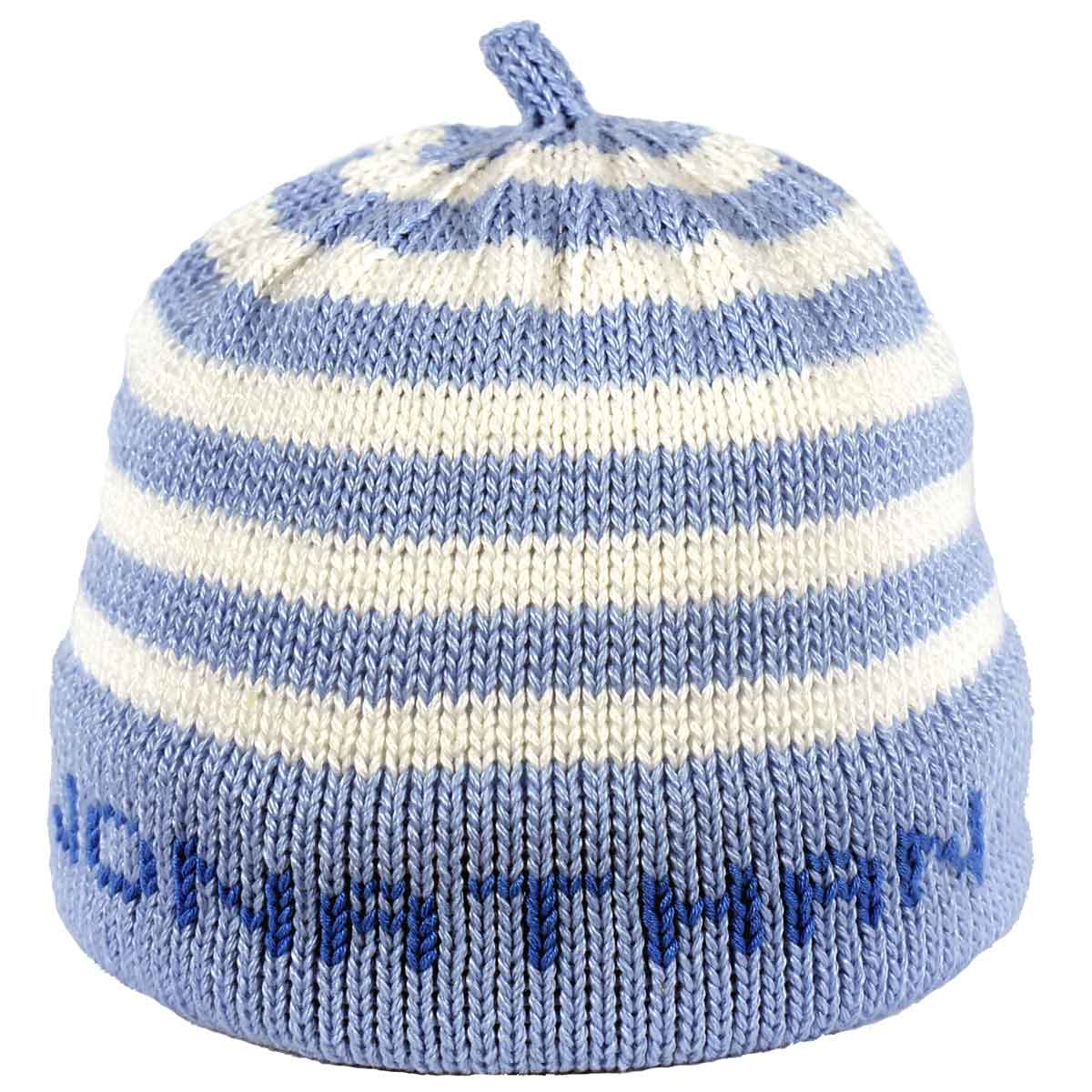 99f356103 Personalized Knit Hat – Blue Stripes and Band