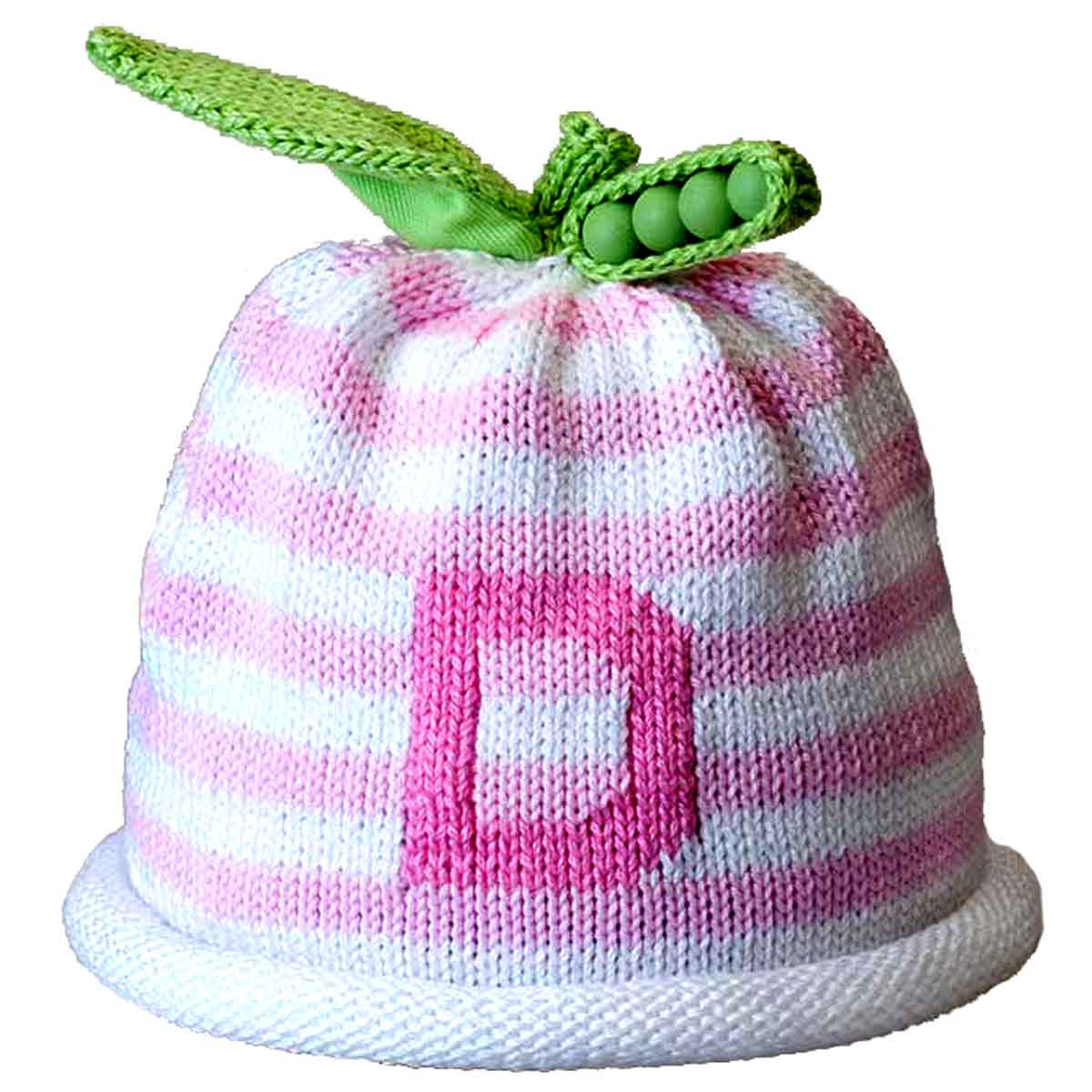 30c8f1d1a3ac1 Personalized Knit Hat - Pink Striped Initial - Margareta Horn Design