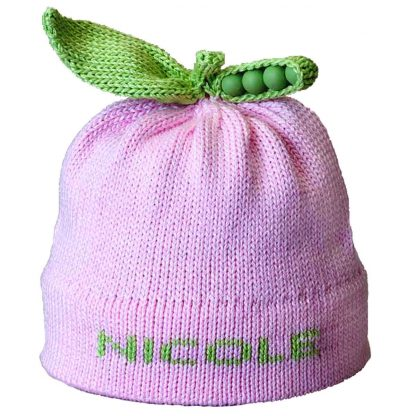Pink Sweet Pea Knit Hat that can be personalized