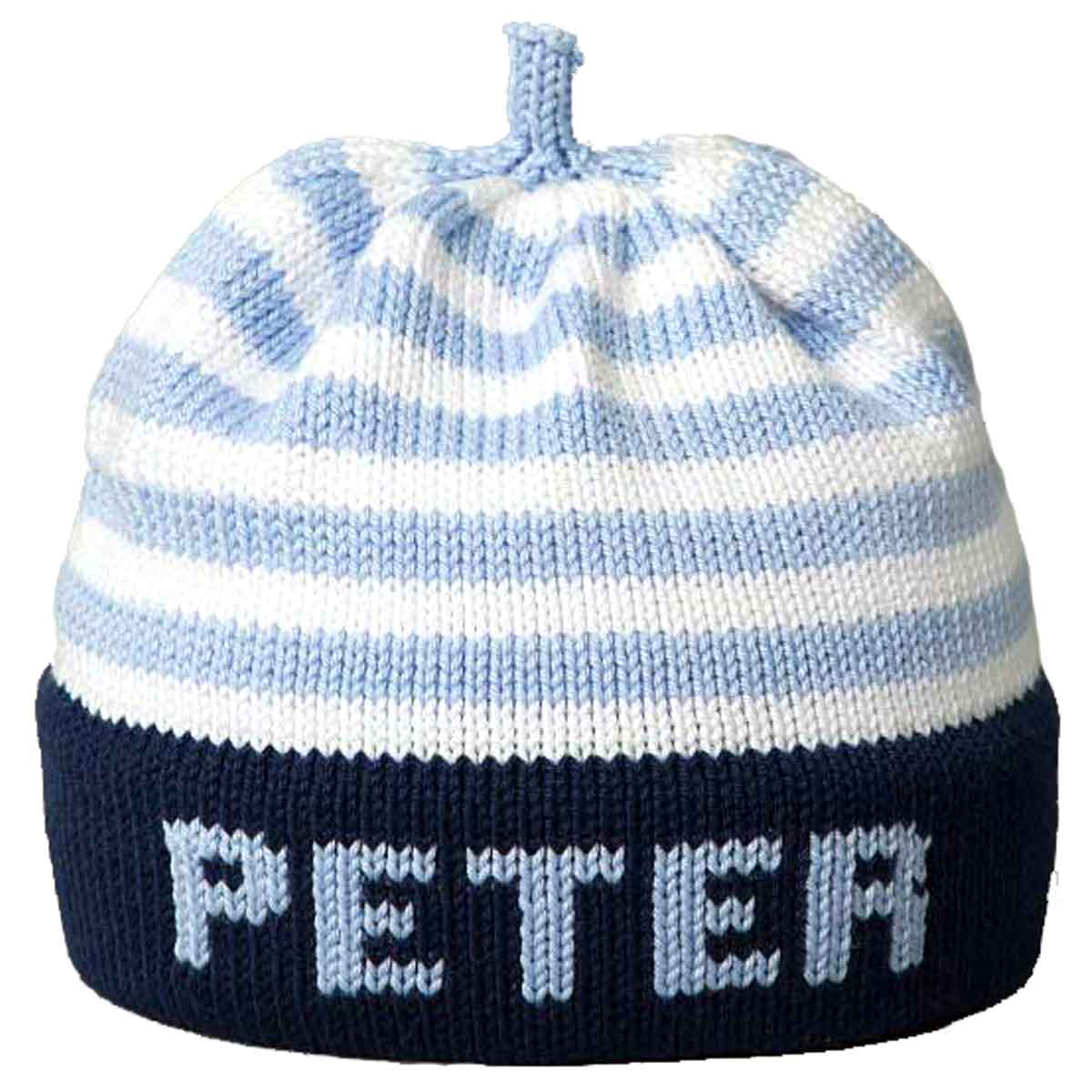 Personalized Knit Hat - Blue Stripe Navy Band - Margareta Horn Design 3ead7890c53