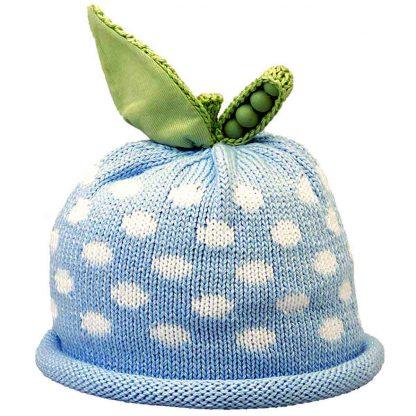 Sweet Pea knit hat white dots on blue cap