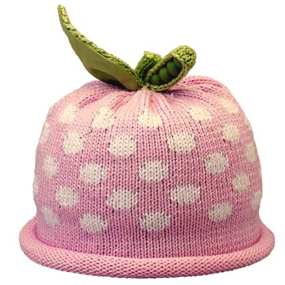 Sweet Pea knit hat white dots on pink cap