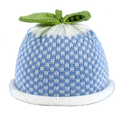blue gingham checked on white knit hat, green sweet pea pod on top