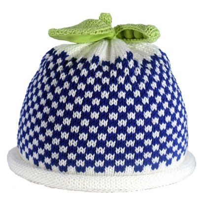 royal blue gingham checked on white knit hat, green sweet pea pod on top