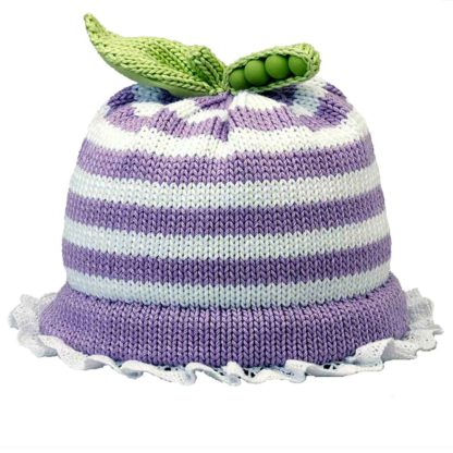 Sweet Pea knit hat Lavender and White Stripes band trimmed with lace
