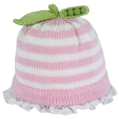 Pink and white knit hat with lace trimmed brim, decorated with knit green sweet pea pod and leaf on top