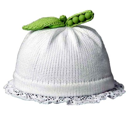 Sweet Pea knit hat white with the band trimmed in lace