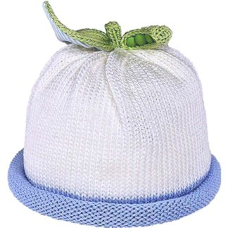 Sweet Pea knit hat blue roll on white cap